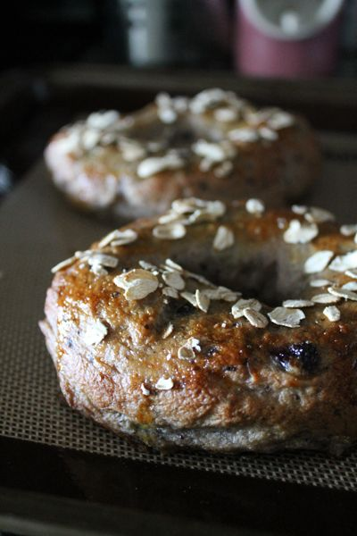 Homemade blueberry oatmeal bagels.  Made 1/2 batch blueberry and 1/2 batch cranberry.  They were so much better than store bought and not that hard to make.