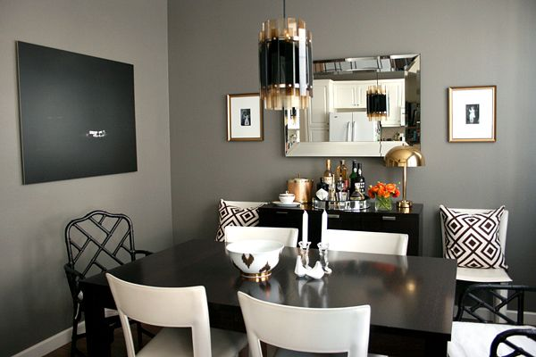 Gorgeous dining room design with deep gray walls paint for Dark grey dining room ideas