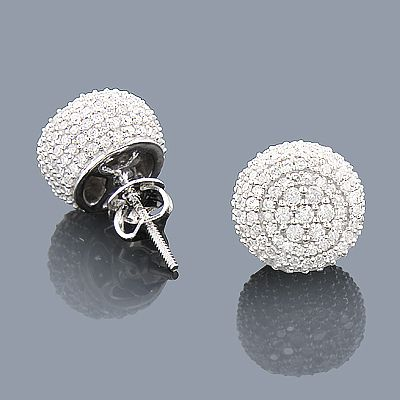 Pave Diamond Earrings 14k Gold Studs 1 32ct