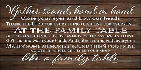 Family Table Lyrics Zac Brown Band Wood Sign, Canvas Wall Art - Kitchen, Dining Room, Thanksgiving, Housewarming, ZBB Lyrics, Mother's Day