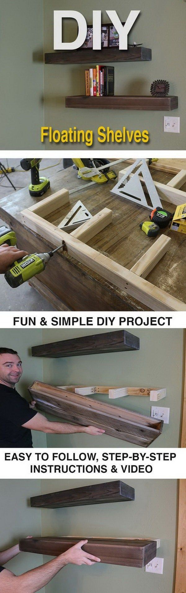 DIY Wood Floating Shelves. DIY Wood Floating Shelves are a great way to keep collectibles, decorative items or books. It's simple to make too.