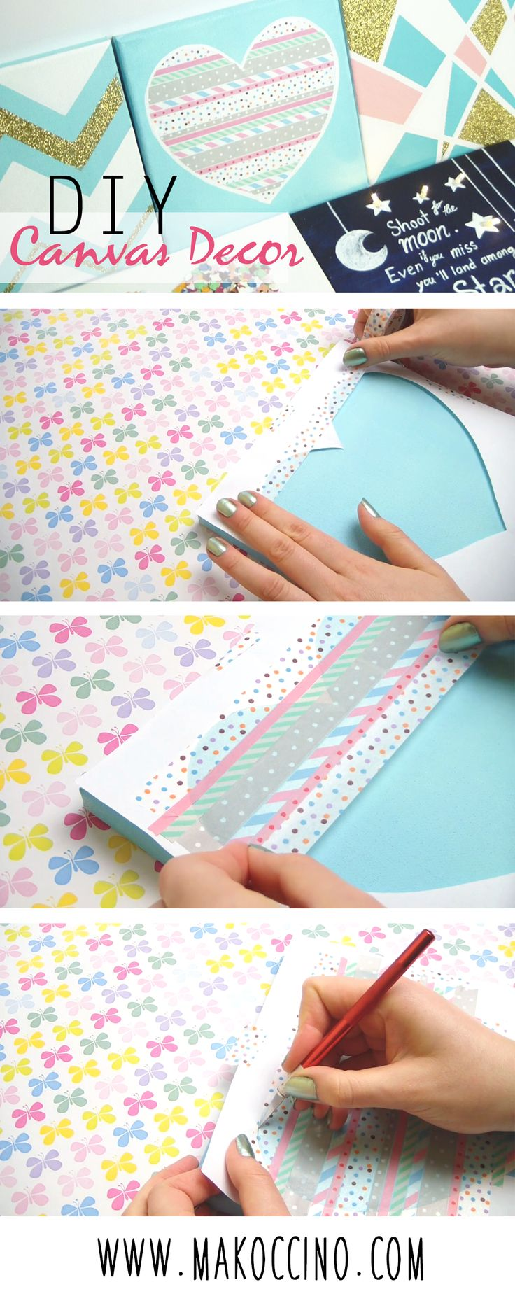 DIY 5 different ideas what you can do with a plain canvas. They are all easy to make and the result looks very cute and it's perfect for decorating your room or as a personal gift!