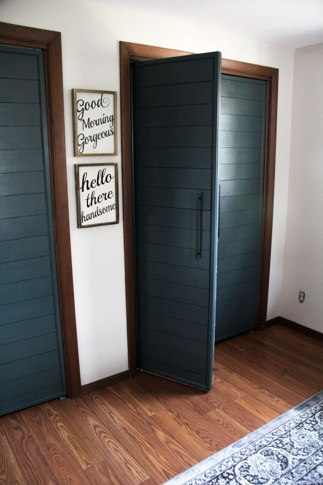 She started with dated slatted bifold doors and ended up with these gorgeous modern ship-lapped versions! Incredible!