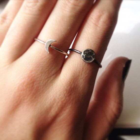 Tiny Sterling Silver Crescent Moon rRing by TinyMountainsShop