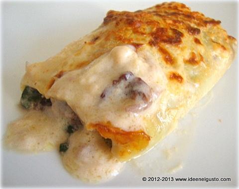 Cannelloni con radicchio, spinaci e besciamella alla paprica