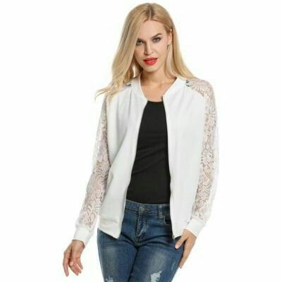 LaceZip Up Short Slim Fit Bomber Jacket White | pinknee.com