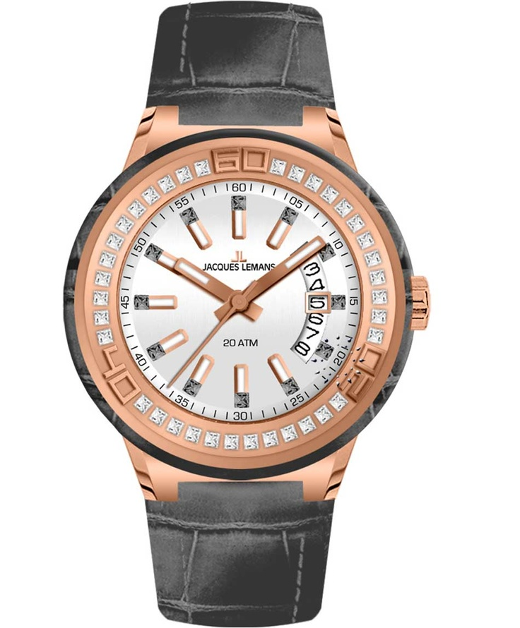 Jacques LEMANS Miami Crystal Ladies Grey Leather Strap Μοντέλο: 1-1776D Η τιμή μας: 179€ http://www.oroloi.gr/product_info.php?products_id=33859