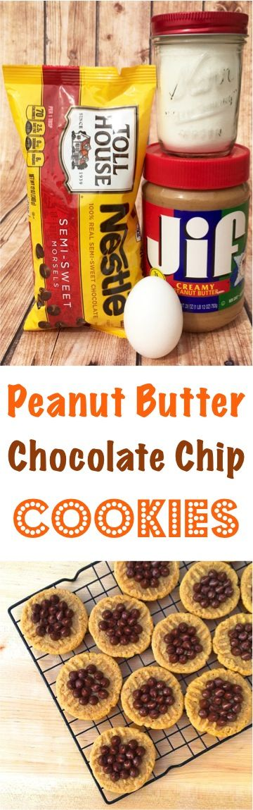 Easy Peanut Butter Chocolate Chip Cookies Recipe! Just 4 ingredients ...