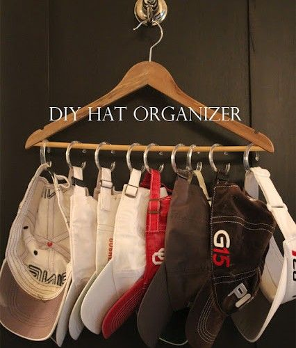 $1.00 hat / baseball cap organizer - so simple, so logical!  #storage #organization                                                                                                                                                     More