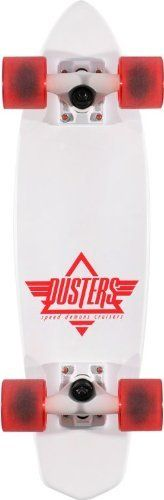 "Dusters Ace White Complete Cruiser Board by Speed Demons. $69.99. The Dusters Ace cruiser is a throwback retro cruiser boards with a 23.5"" x 6.5"" mini-scale deck, big and soft 62mm custom wheels, high pivot trucks, and this white Ace Duster features a mold-injected plastic deck for ultimate retro steez. The end result is a totally fun cruiser board with great street and concrete grip and a small enough size to easily throw in your backpack and bust out when you need to bom..."