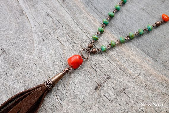 Boho nappa collana bohemien gioielli Gypsy gioielli in di NessSolo