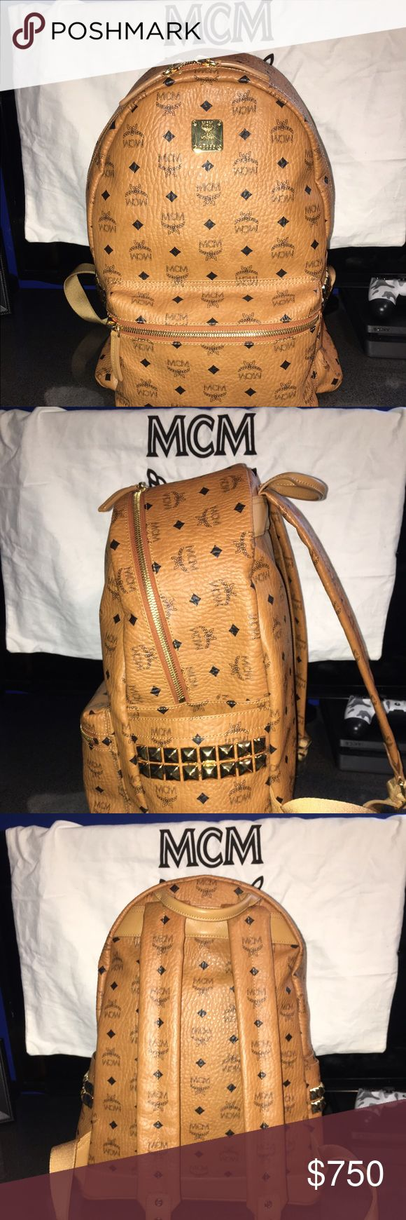 Men's MCM Brown Backpack Almost new!! Used about once or twice but still in great condition!! Comes with dust bag. Price is negotiable !!! can lower the price if I use a different app !! Please contact me MCM Bags Backpacks