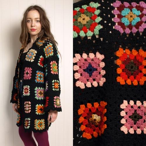 Vintage 70s WOOL black CROCHET granny square jacket COAT cardigan M L