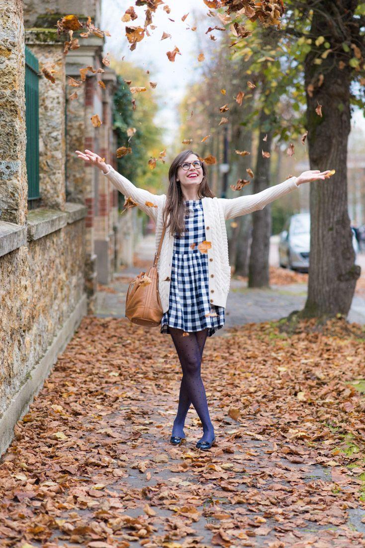 gingham dress + wool cardigan
