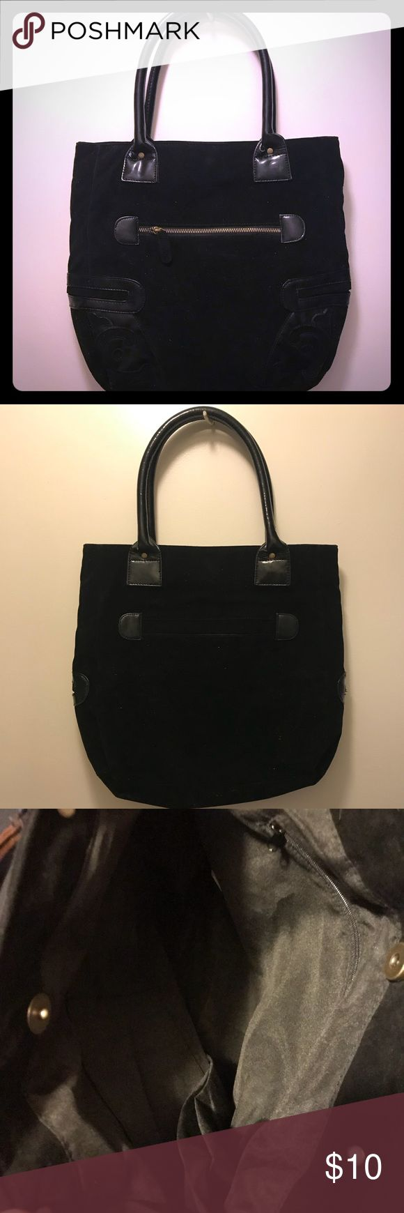 Avon Handbag Avon Black suede handbag. Gently used. 15 inches wide and 13 inches long. 4 outside pockets and 1 inside. Avon Bags