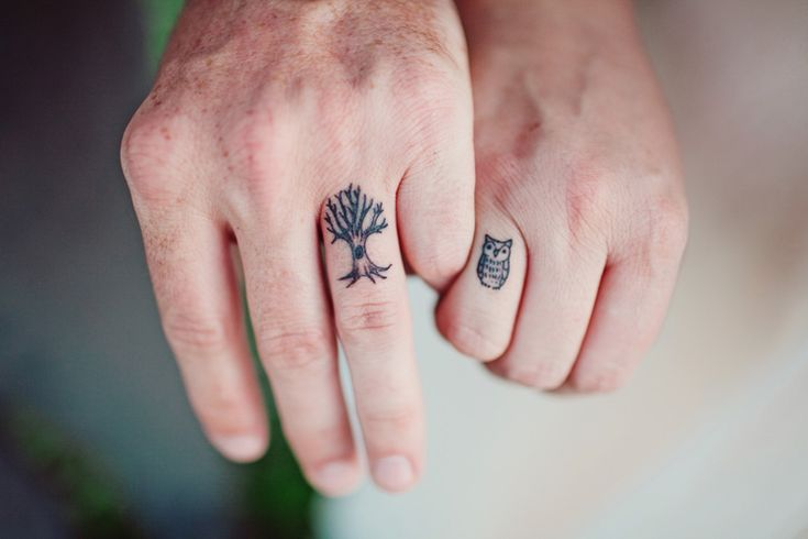 """If you were a bird, then I'd be a tree; and you would come home, my darling, to me""  wedding ring tattoos"