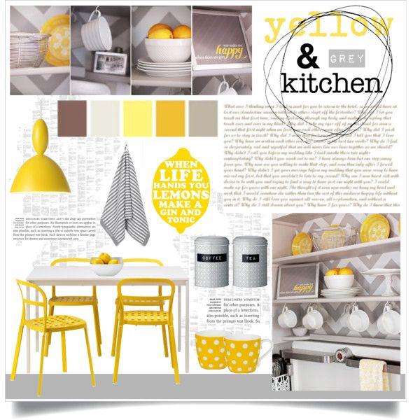 """Yellow & Grey Kitchen"" by veronikasinterior on Polyvore"