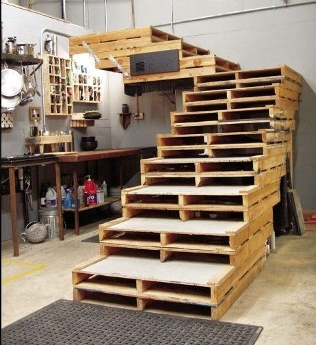 These Wide Sturdy Attractive Pallet Stairs Were Made Entirely From Repurposed American Pallets They Are Secured Together As Well