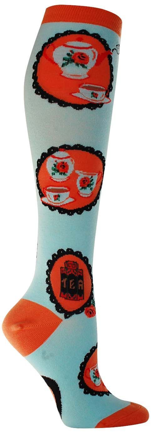 "Good luck finding another cool pair of socks that rival these lady-like knee highs. Whether wearing this colorful pair to the next dainty tea party or to another ""fun"" day at work, we can guarantee yo"