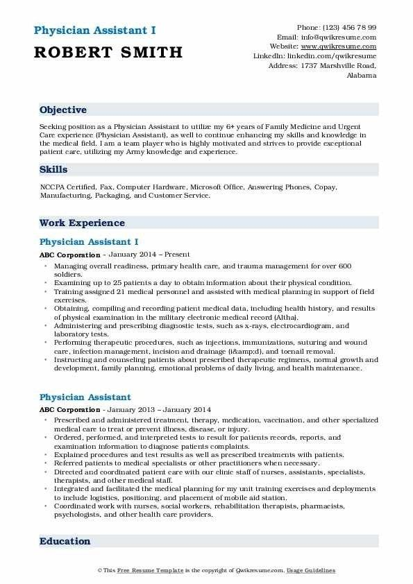 Physician Assistant Resume Samples Qwikresume Resume Skills Medical Assistant Resume Emergency Medicine