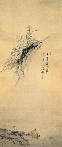 주상관매도(舟上觀梅圖) 김홍도(1745~1806?) 종이에 수묵 담채 164×76cm, 개인소장  Painted by Kim Hong-Do 'See the plum by boat'