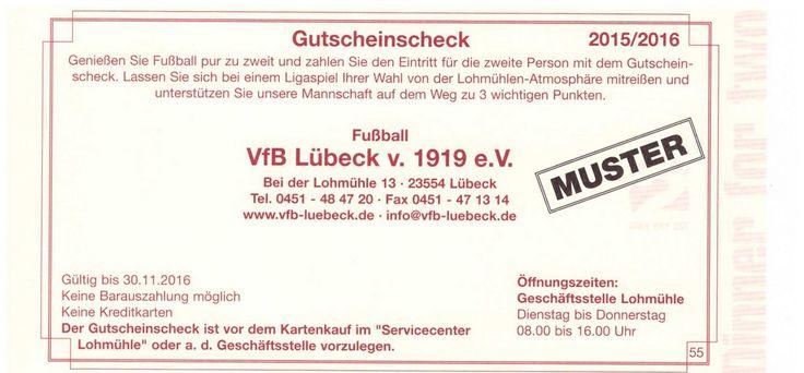 VfB Lübeck Lohmühle Gutschein