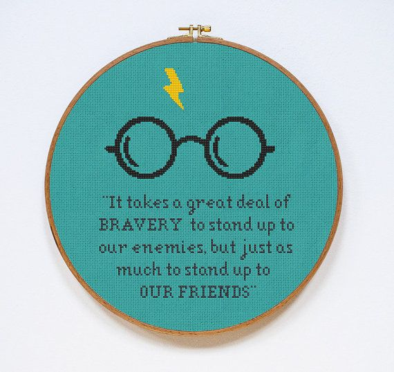 Harry Potter Cross Stitch Pattern Bravery Quote by Stitchering