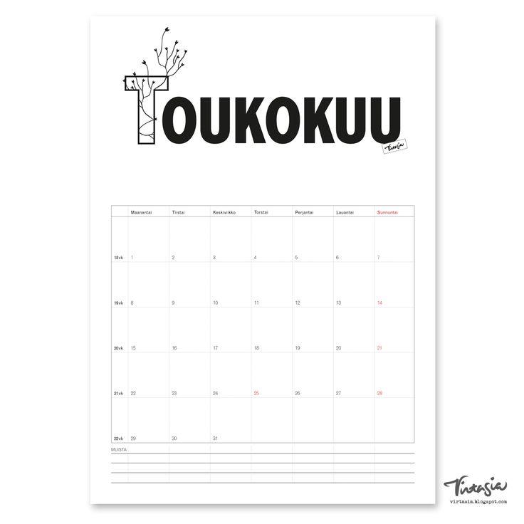 Ilmainen tulostettava toukokuun 2017 seinäkalenteri #ilmainen#tulostettava #kalenteri #2017 #toukokuu  #free#print#calendar #May