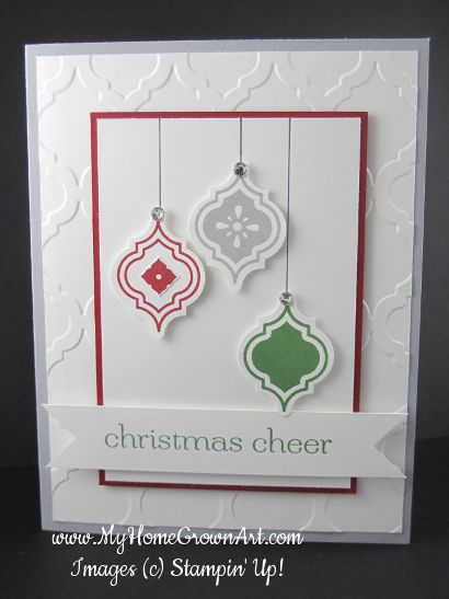Christmas Card features Stampin' Up! Mosaic Madness stamp set and coordinating punch