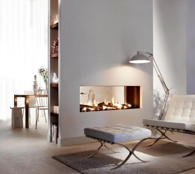 Beautiful Fireplace Design for Winter House:Transparent Dual Aspect Fireplace At White Elegant Modern Living And Dining Room