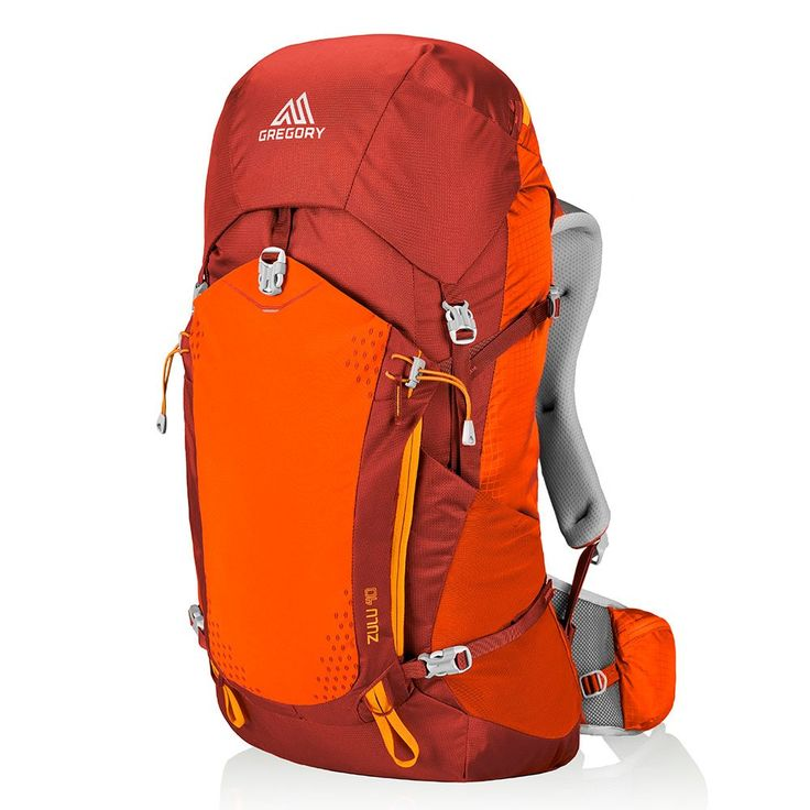Gregory Zulu 40 Backpack, Burnished Orange, Medium. Front U-zip main compartment access panel. Permanent top lid with zippered security pocket and key clip. Dual-density hip belt and shoulder harness foam for improved heavy load stability. Enhanced lumbar foam layering for increased load-bearing comfort. Dual stretch mesh side pockets, dual zippered hip belt pockets. Pockets: 1 interior slip, 1 interior zip, 8 exterior.