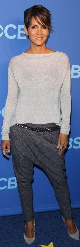 Halle Berry: Shirt – Daimon  Pants – Sorella  Shoes – Barbara Bui  Earrings – Borgioni and Jack Vartanian  Rings – Sutra