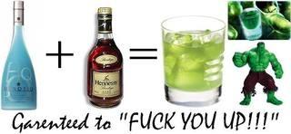 1/2 oz Hennessy® cognac 1/2 oz Hpnotiq® liqueur Read more: Incredible Hulk recipe http://www.drinksmixer.com/drink7501.html#ixzz27VzoAzWX