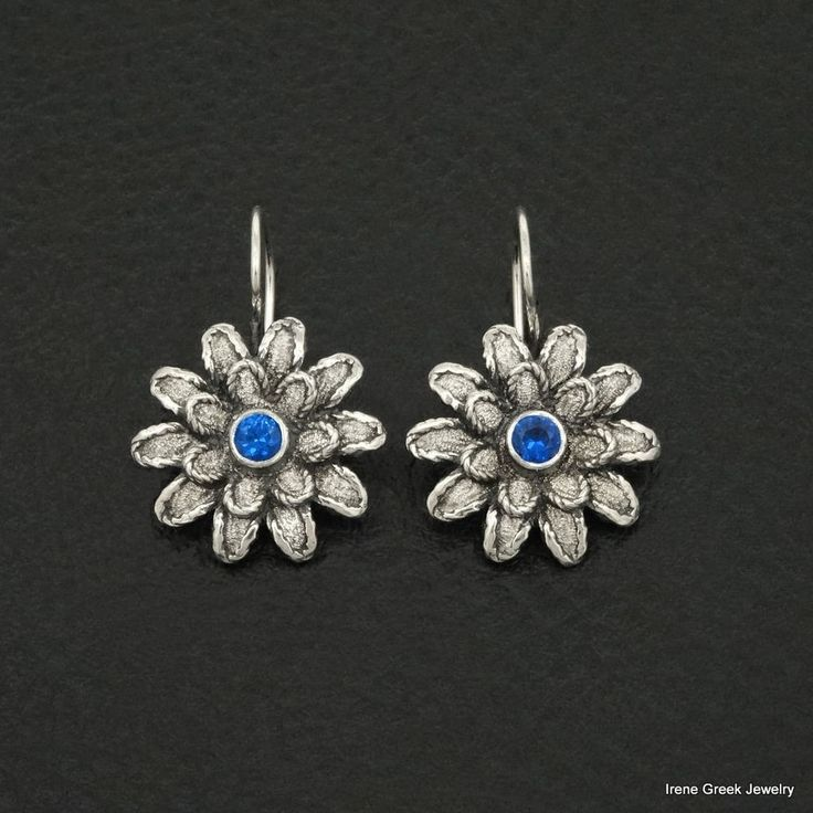 LUXURY SAPPHIRE CZ FLOWER STYLE 925 STERLING SILVER GREEK HANDMADE ART EARRINGS #IreneGreekJewelry #DropDangle