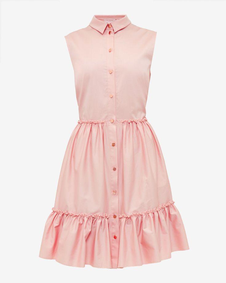 Sleeveless collared cotton-blend dress - Dusky Pink | Dresses | Ted Baker UK