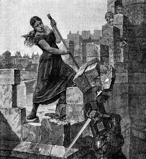 Medieval woman defending a castle