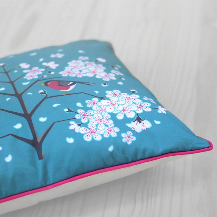 Diva Bara pillow with bullfinch and cherry blossom flower