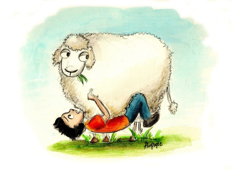 """""""Just don't let go!"""" Annabeth said, standing invisibly somewhere off to my right. That was easy for her to say. She wasn't hanging upside down from a belly of a sheep.  - Percy Jackson and the Olympians, The Sea of Monsters. p.200  Percy is apparently afraid of getting eaten by killer sheep."""