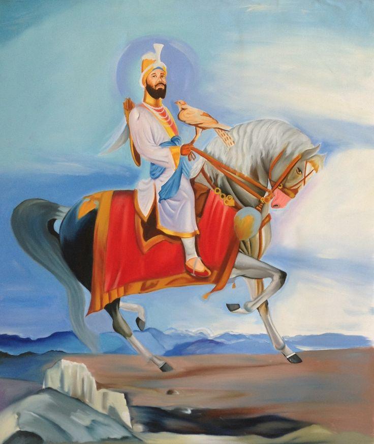 Guru Gobind Singh Equestrian Painting Handmade Indian Sikh Ethnic Oil Canvas Art