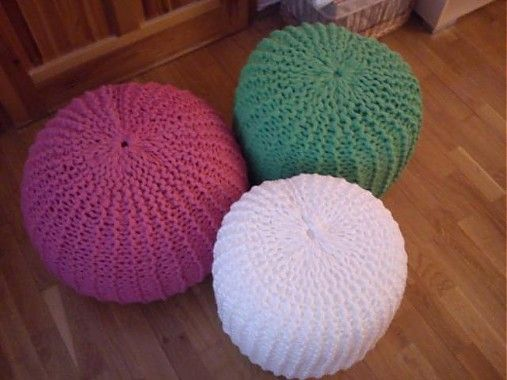 Úžitkový textil - Ružový pletený puf-AKCIA - 2500284
