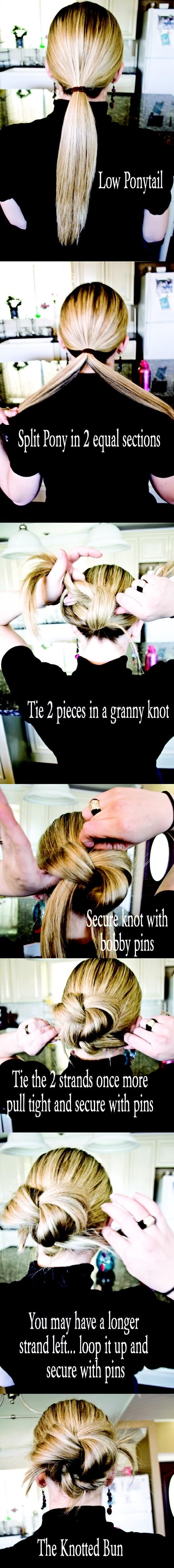 Knotted Bun Tutorial - Long Hair Styles How To -- looks like it should be easy