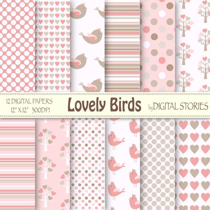 Baby+Girl+Digital+Paper+LOVELY+BIRDS+Pink+Beige+by+DigitalStories,+€2.60