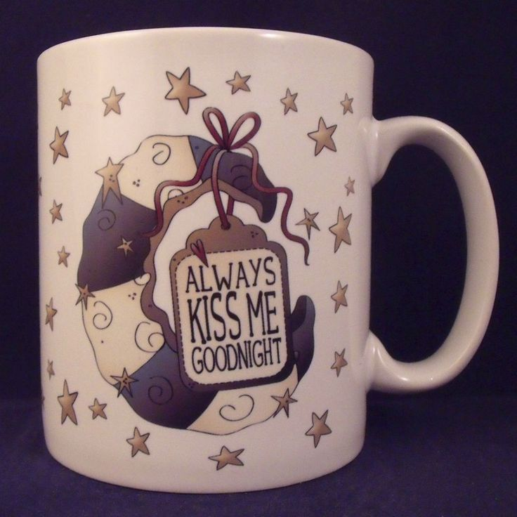 Always Kiss Me Goodnight Mug - Coaster - Cup - Halloween - Novelty - Love - Gift