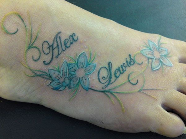 108 best name tattoos images on pinterest for Name tattoos with color
