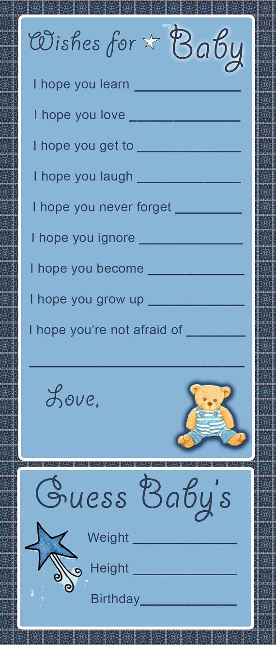 Teddy Bear Baby Shower Game Activity Wishes for by tinamarie62, $5.00