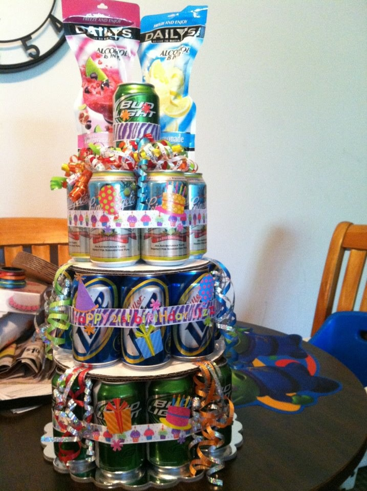 Cake I made out of full beer cans for a 21st birthday. :-)