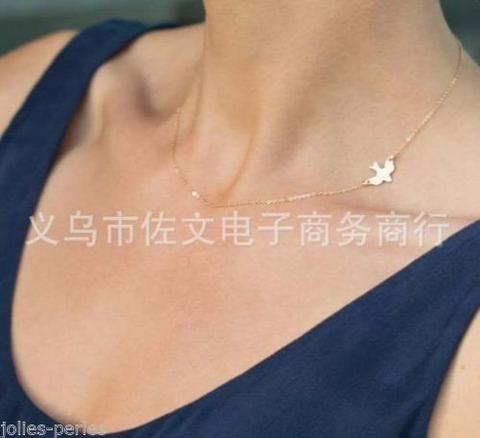 JP 1PC New Peace Bird Peace Shape Pendants Necklace Clavicle chain 52cm M11062