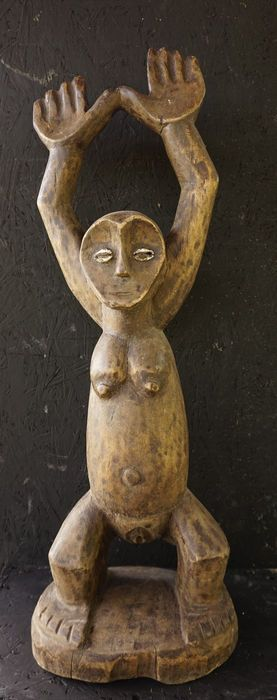 Catawiki online auction house: African Bwami Society wooden sculpture - LEG A- Democratic Republic of Congo
