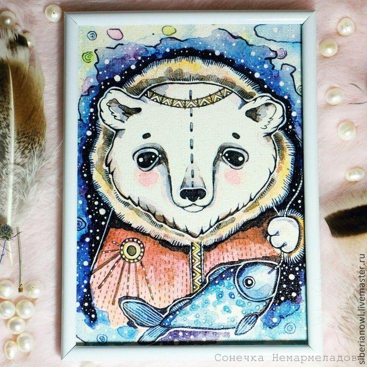 Мишки на Севере.Рисунок на холсте. Этно стиль - фиолетовый,рисунок на ткани