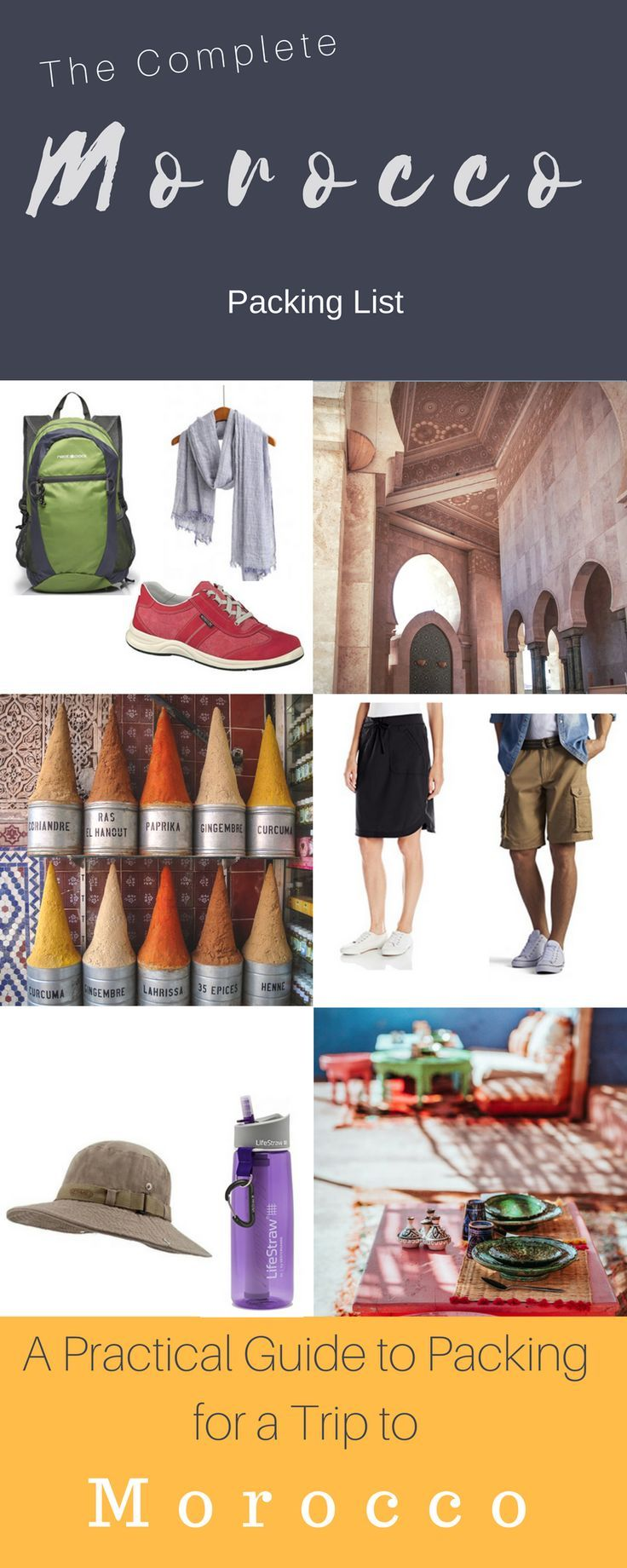 Morocco is unique. A country characterised by its cross-cultural influences and the diversity of experiences it offers the traveller. Packing for Morocco needs to be both practical and respectful of local culture. We have put together a practical packing list for Morocco that covers off on all the travel essentials. #morocco #packing #packinglist